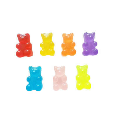 100Pcs Resin Candy Flatback Cabochon Miniature Qq Gummy Candy Cute Bear Des P2A7