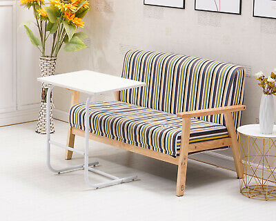 White Sofa Bed Side End Coffee Table Modern Magazine Snack Wooden Desk Laptop