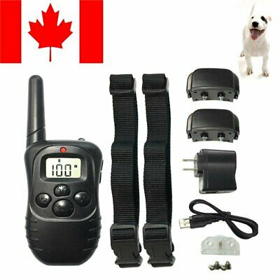 Electric LCD 100LV 2 Dogs Training Collar Rechargeable Shock Anti Bark Collar CA