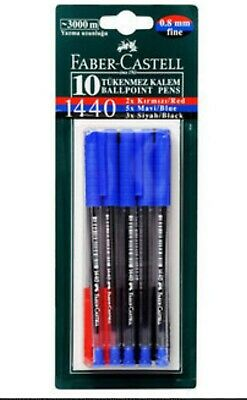 FABER-CASTELL 1440  BALL POINT blue black red INK PEN 10pcs IN A BLISTER CARD