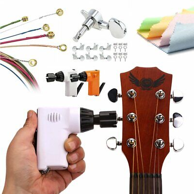 USB Rechargeable Guitar Pegs Electric Winder Cutter Strings Cleaning Cloth Set