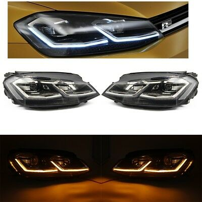 VW GOLF GTD MK7 MK7.5 2013-17 Xenon LED DRL Head Lights Sequential Indicator LHD