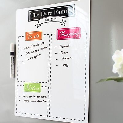 Fridge dry erase white board Kitchen magnetic Shopping List weekly Meal Planner