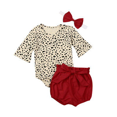 Cute Newborn Baby Girls Leopard Print Outfits Clothes Romper Shorts Headband Set