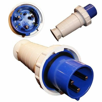 63A 3 Pin Plug 230V Waterproof IP67 Industrial 2P+E Blue Single Phase 63 Amp