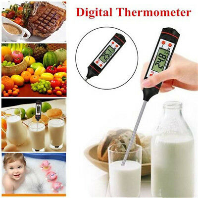 Digital LCD Food Thermometer Probe Cooking BBQ Meat Water Temperature + ℃/℉ Key