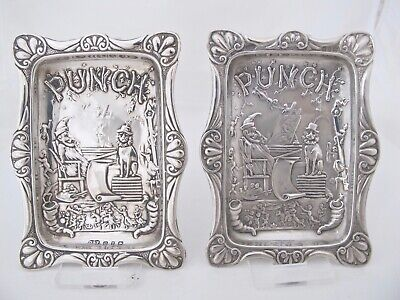 Rare pair of Victorian silver Punch pin trays Birmingham 1898/9