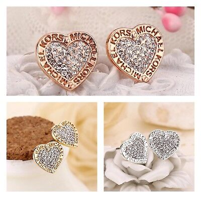 New fashion Gold Silver Rose Heart Crystal stud Earrings Jewerly