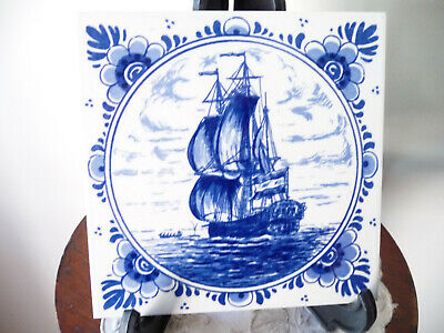 "Antique Vintage Original ""Delft Blauw"" Handpainted Ceramic Tile : Maritime Scene"