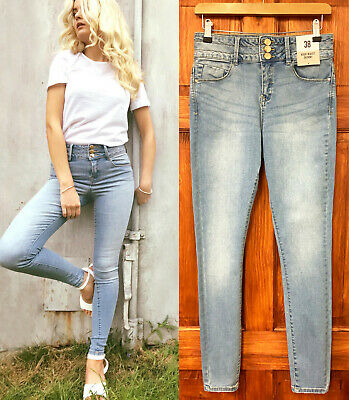 Primark NEW Womens High Waisted Soft Stretch Skinny Jeans in Blue Sizes 6 to 20