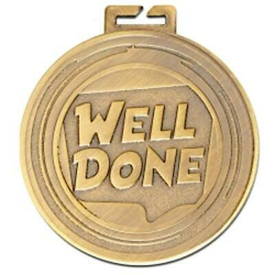 Well Done Gold Medal 50 mm Free Engraving up to 45 Letters + Ribbon AM1182.01