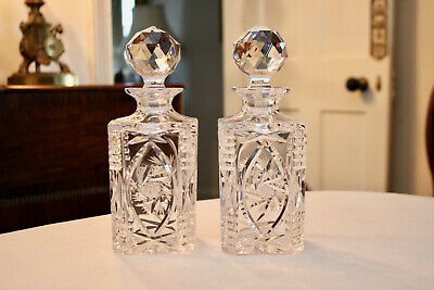 A Delightful Pair of Square Base Cut Glass Spirit Decanters