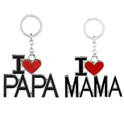 family red heart keychains i love dad mom mama papa usa seller keyi love papa mama heart key chain keychain ring keyring mother father\u0027s day gifts