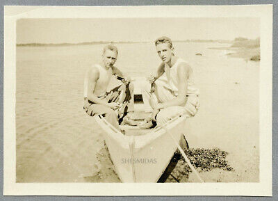 #267 Faded Memory of Two T-Shirt Men on a Rowboat, Vintage Gay Int Photo