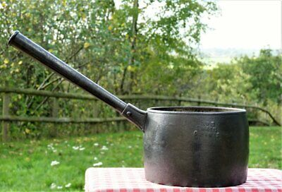 Antique cast iron saucepan cooking pot swain 6 pint kitchen camping FREE UK POST