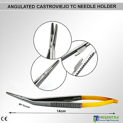 Microsurgical Angulated Castroviejo Needle Holder Suturing Pliers 60° TC Forceps