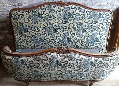 Antique French Demi Corbielle/Corbeille Double Bed Frame Dark Oak Louis XV Style