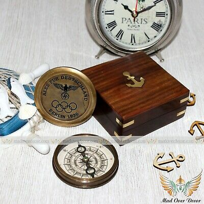 Berlin 1936 The History Of Olympics Paul Perro Brass Poem Compass With Wood Box