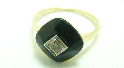Art Deco Damen Altschliff Diamant Onyx Ring 585 Gold 14 Karat Gr.53