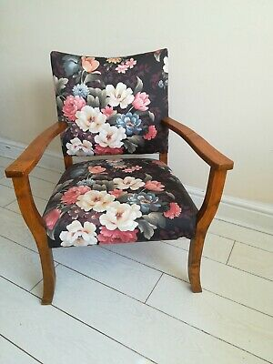 Original Retro Chair Floral Fabric Wooden arms and legs Vintage