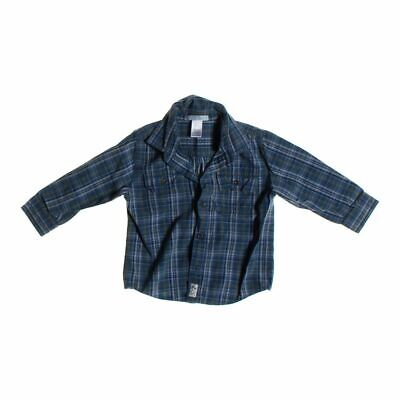Janie and Jack Baby Boys Shirt, size 18 mo,  grey, blue/navy,  cotton