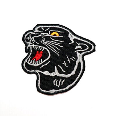 a39ae8eb7ec56 Black panther Tiger Head Emblem Rock Punk Biker Retro DIY Clothing Iron on  patch