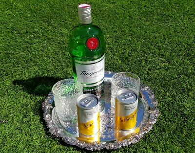 """12"""" round vintage Walker & Hall silver plate drinks chased gallery serving tray"""