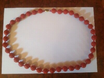 "Fine vintage Chinese red Cinnabar knotted bead necklace 30"" long filigree clasp"