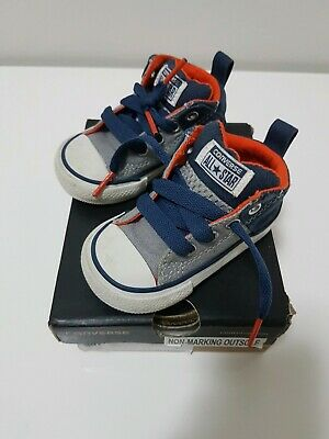 Converse Chuck Taylor All Star Street Pinstripe, Blue and Grey, Size 4US/20EURO