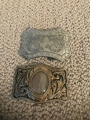 Lot Of 2 Western Belt Buckles Gold And Silver Tone
