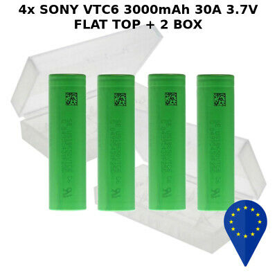 4x BATTERY SONY VTC6 3000mAh 30A DISCARGE HIGH DRAIN BATTERIA FLAT 18650 BOXED
