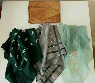 3 VINTAGE 40's/50's SILK HANDKERCHIEFS & LEATHER BAG CASE POUCH
