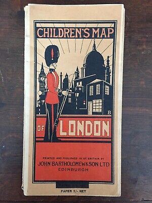 Vintage Rare Children's Map of London c.1938 Bartholomew & Son