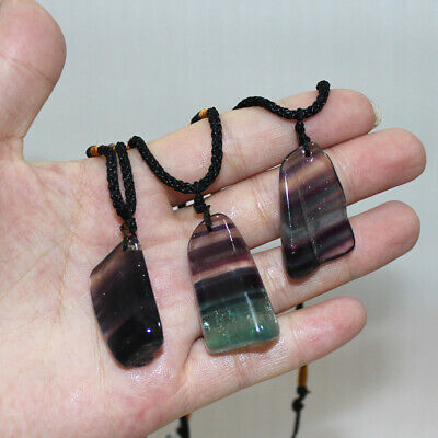 Natural Colorful Fluorite Quartz Crystal Pendant Irregular HealingStone Necklace