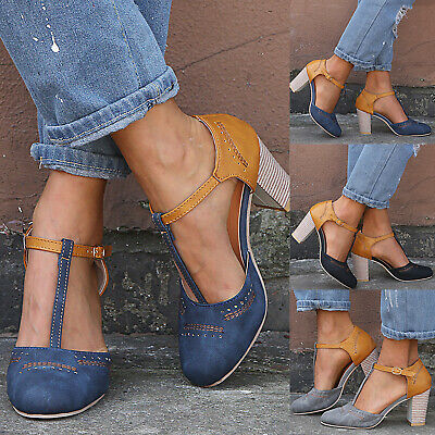Women's Block Heels Ankle Strap Sandals Ladies Point Toe Work Casual Shoes Sizes