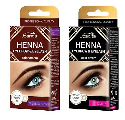 Joanna Henna Tint Black Brown Cream Eyebrow Eyelash Dye Tinting Lash Kit 15ml