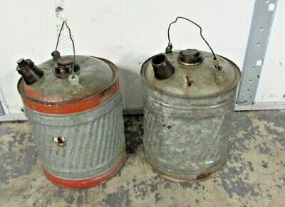 2 Vintage 5 Gallon Galvanized Metal Gas Oil Kerosene Fuel Can