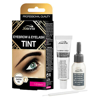 Joanna Henna Tint Black Cream Eyebrow Eyelash Dye Tinting Lash Full Kit 15ml