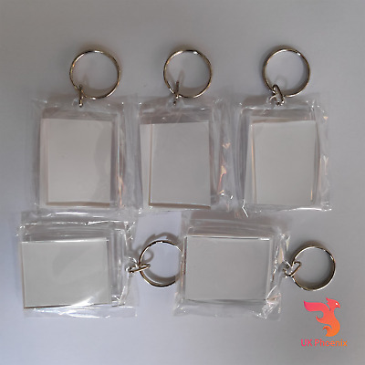 10 PIECES CLEAR PHOTO HOLDER BLANK KEYRING GIFT FAMILY KIDS 45mm x 35mm KEY RING