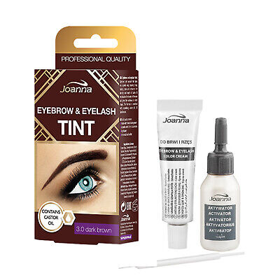 Joanna Henna Tint Dark Brown Cream Eyebrow Eyelash Dye Tinting Lash Full Kit