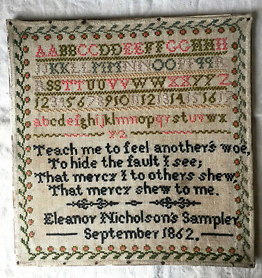 Antique Needlework Sampler by Eleanor Nicholson 1862 + Quote by Alexander Pope