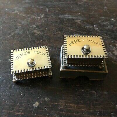 Pair Silver Plated Edwardian Chased Stud / Stamp Boxes 'HERE'S YOUR' Stud Lid