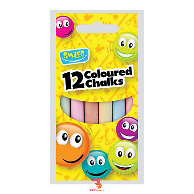 Smiles Pack of 12 Chalks White Coloured Chalk Sticks School Art Board Blackboard