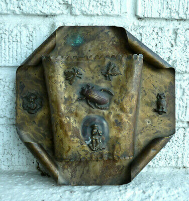 Wall Pocket Fireplace Spill Vase Folk Arts and Crafts Beetle Insects Owl Antique