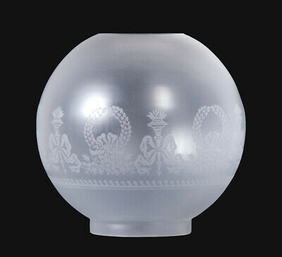 "4"" Fitter ~ BOWS & WREATH ~ Satin Etch ~ 8"" Dia.~ Glass Ball Gas Oil Lamp Shade"