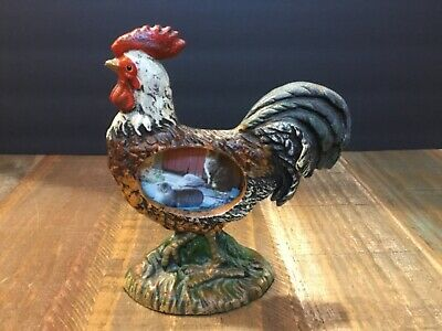 Small Hand Painted Cast Iron rooster picture frame Country Decor