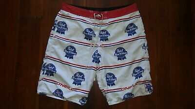 52fb5194f0 Oneill Pabst Blue Ribbon Mens Swim Trunks Shorts 36 A Must Have Buy it  SHIPSFAST