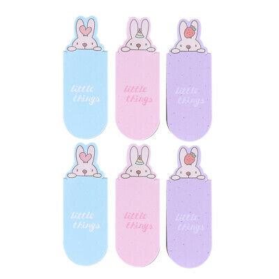 6PCS Rabbit Cute Book Marker Cartoon Book Mark Magnet Bookmarks for Marking Page