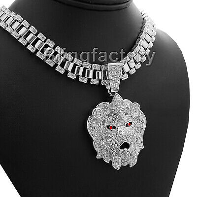 "Hip Hop Iced Silver Tone Lion Head & 18"" Iced Rollie Link Choker Chain Necklace"