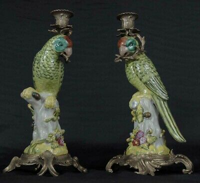 Pair French Porcelain Parrot Candle Holders Candelabras